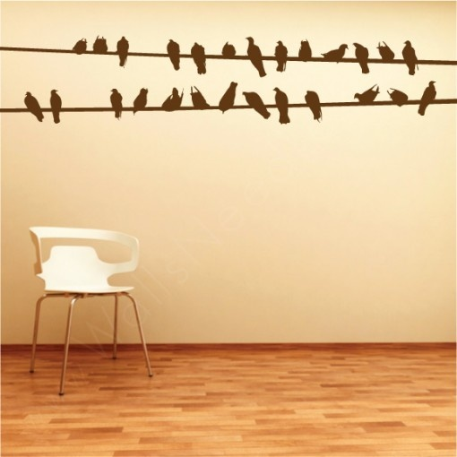 Bird wires wall decal and a bedroom