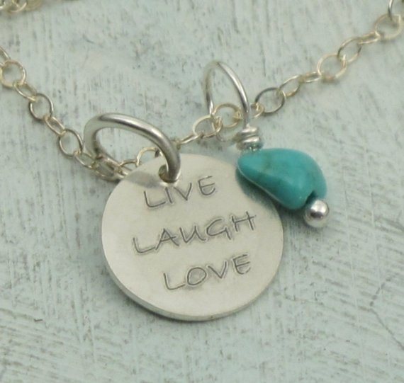 Live Laugh Love  in sterling silver with turquoise by KathrynRiechert, $26.00