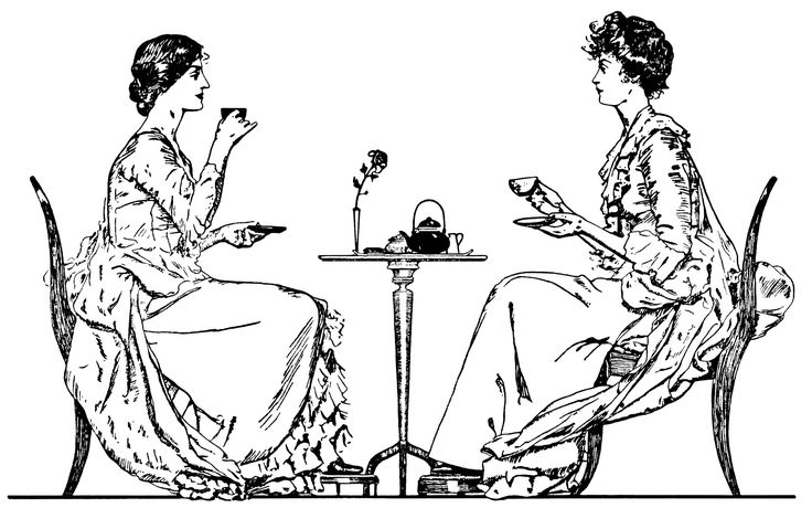From olddesignshop.com : Victorian tea time, ladies drinking tea, black and white clip art, vintage tea party clipart, old book page, Victorian wedding customs