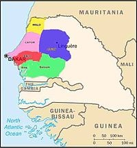 Wolof /ˈwɒlɒf/[1] is a language of Senegal, the Gambia, and Mauritania, and the native language of the Wolof people. Like the neighbouring languages Serer and Fula, it belongs to the Senegambian branch of the Niger–Congo language family.