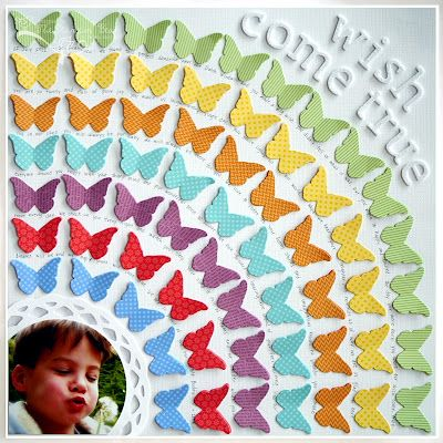 IN LOVE with this rainbow layout created with butterfly punches! Love how the title is white as well...