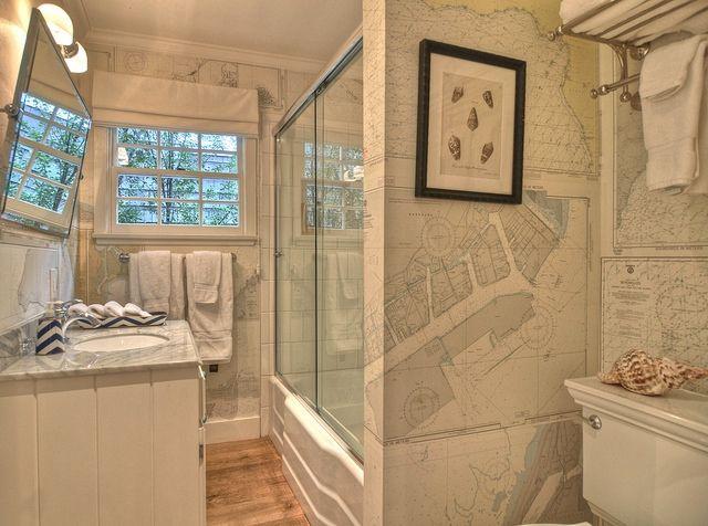 Kathleen DiPaolo Designs - bathrooms - nautical bathroom, beach bathroom, beachy bathroom, nautical wallpaper, nautical chart wallpaper, nau...