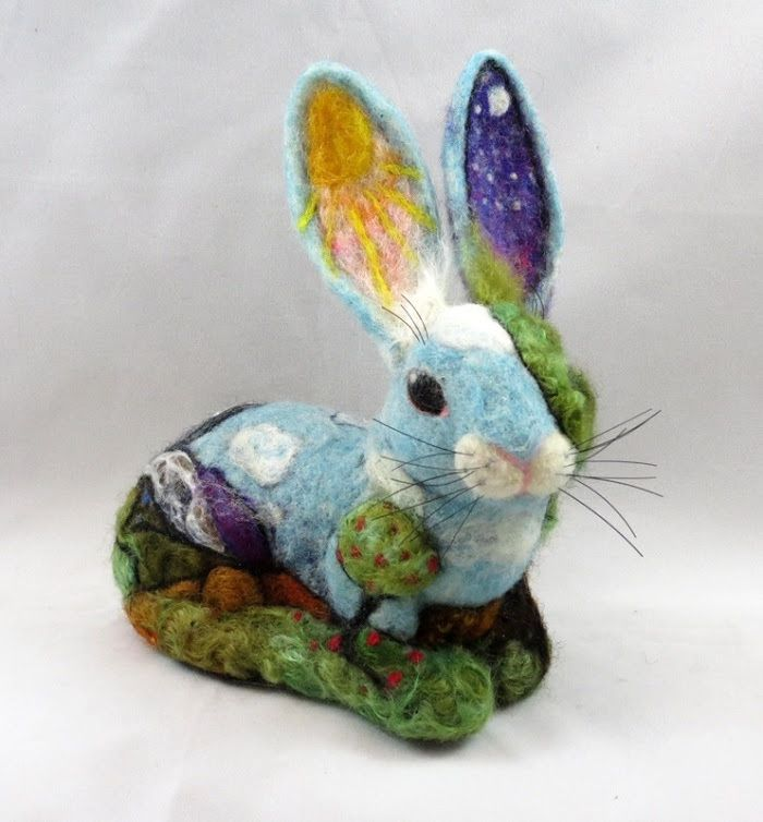 Needle Felted Bunny by Kathleen Dodge-DeHaven featured on www.livingfelt.com/blog