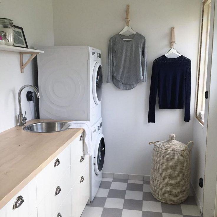 Minimal laundry room with plenty of counter space.