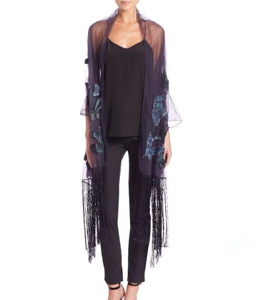 Valentino Butterfly-Embellished Fringed Silk-Blend Stole Dark Blue               $75.00