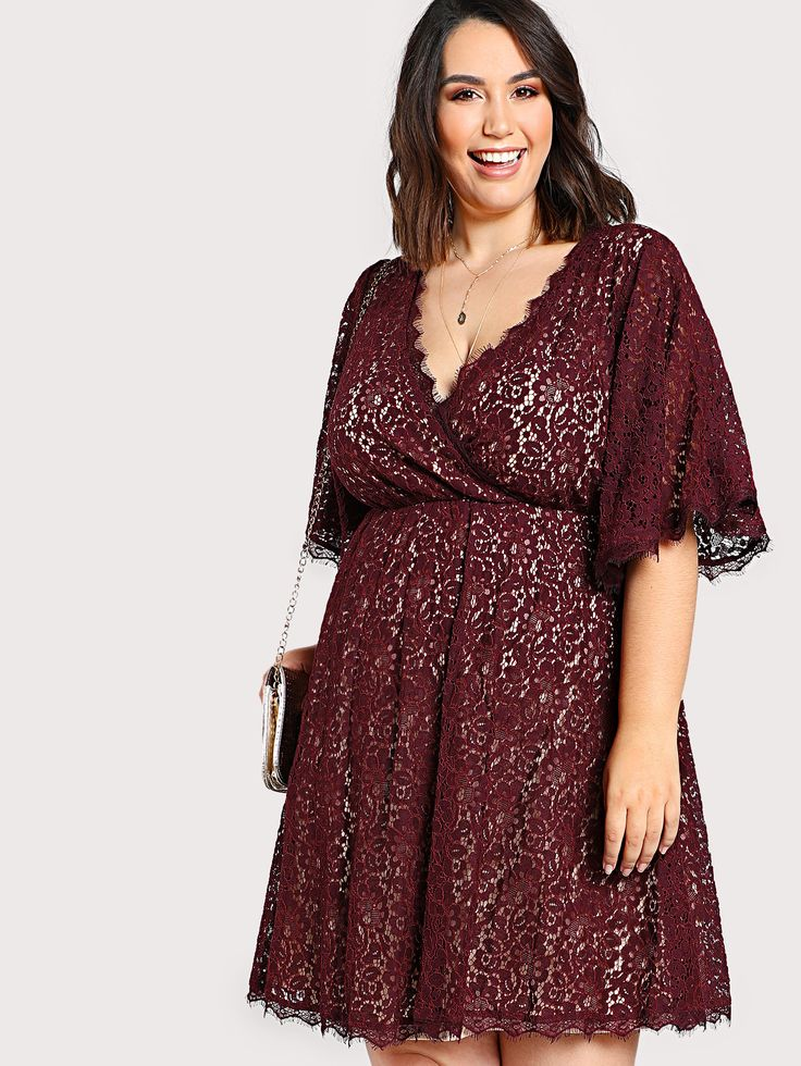 Shop Lace Overlay Quarter Sleeve Dress WINE online. SheIn offers Lace Overlay Quarter Sleeve Dress WINE & more to fit your fashionable needs.