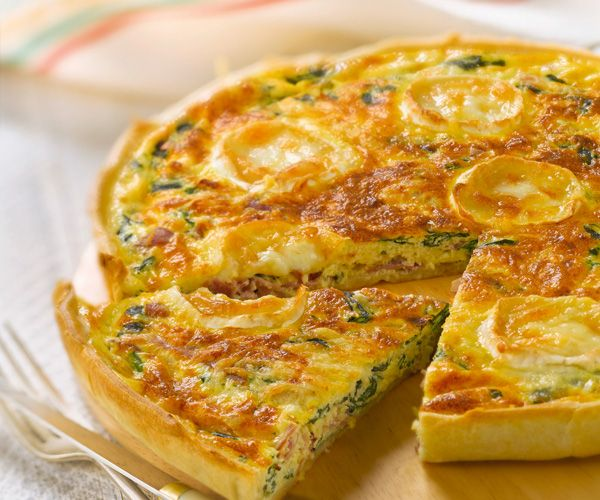 #Quiche épinards, #fromage de chèvre et jambon cru