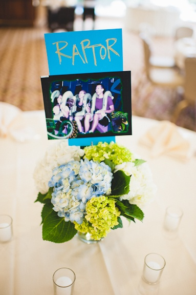 Hilarious roller coaster picture table name/centerpiece names!! From Ken & Jessica's Fort Belvoir Officers Club wedding by Porter Watkins Photography