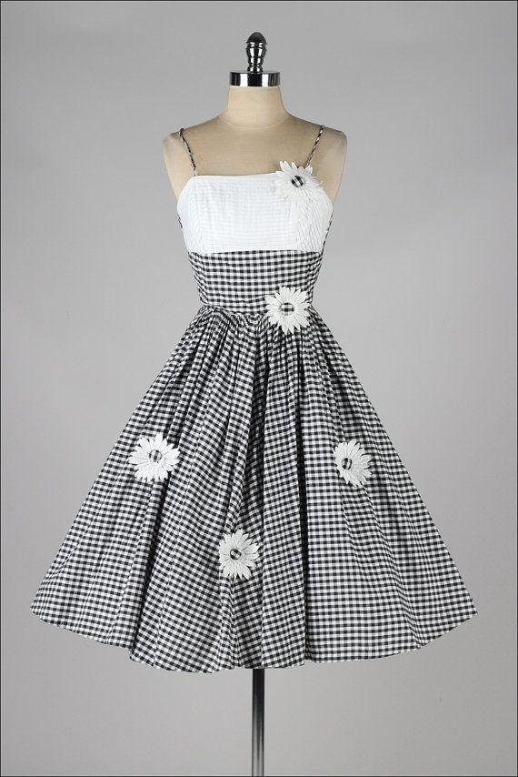vintage 1950s dress . black white gingham by millstreetvintage