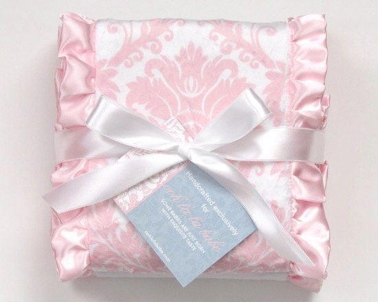 Pink Damask burp cloth set