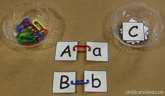 "Children attach matching letter cards together with learning links. This is a great activity for developing letter recognition as well as fine motor skills ("",)"