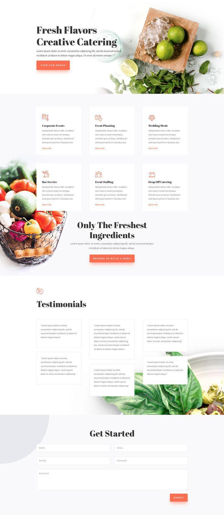 Food Catering Landing Page Elegant Themes Food Website Design Creative Website Design Inspiration Food Web Design