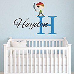 Personalized Pirate Wall Decal For Boys, Pirate Name Nursery Removable  Monogram Vinyl Wall Decals, Part 87