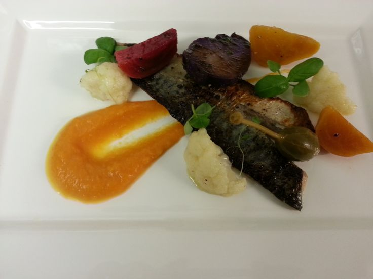 ... , purple potato, colored beetroots and cauliflower with pumpkin puree
