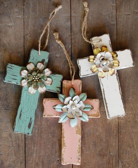diy cute wooden crosses gift with handmade flowers - crafts, hanging decor
