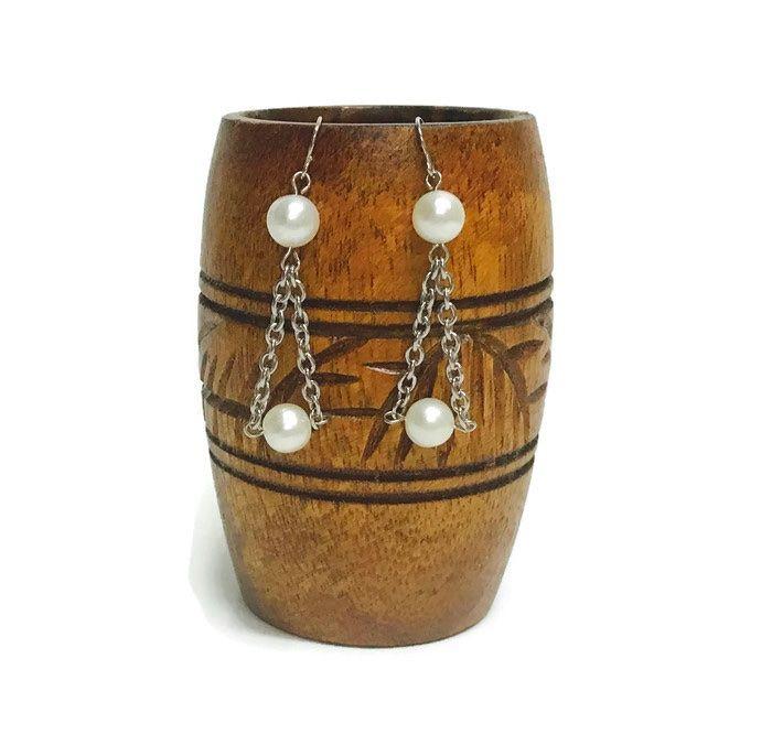 Pearl earrings, bridal earrings, bridesmaid gift, dangle earrings, long earrings, freshwater pearl earrings