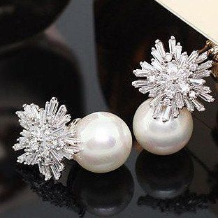 Crystal Cluster Pearl Earrings [Platinum or Rose Gold]
