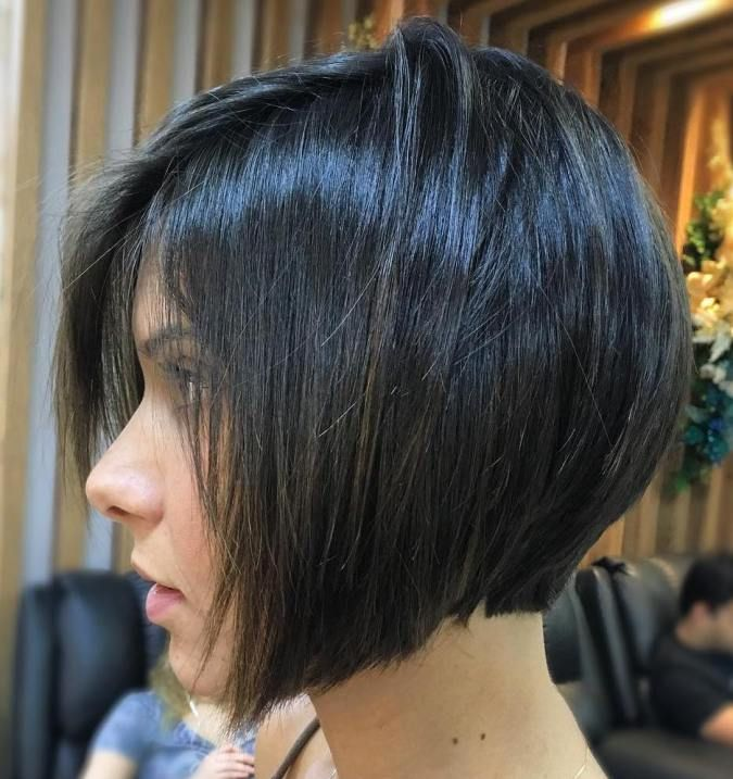 Layered Angled Chin-Length Bob