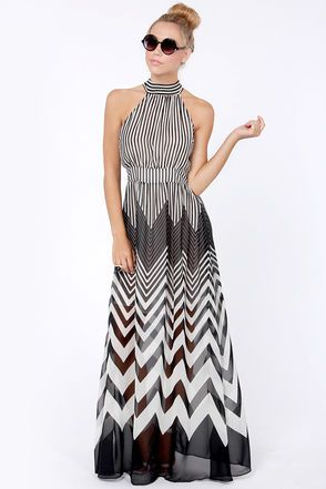 Check it out from Lulus.com! Hey hey hey! We know you want the Blurred Lines Black and Ivory Striped Maxi Dress! Woven black and ivory stripes hang out horizontally on a high neckline that wraps around and ties above a sexy back cutout, while vertical stripes take over on the bodice and banded waist. A full, maxi length skirt sweeps towards the floor with varying gradients of chevron stripes that are sure to strike your fancy. Hidden back zipper/hook clasp. Lined to mid thigh. Model is…