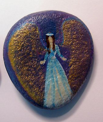 Cape Cod Artist Painted Small Rock Pocket Angel to Carry or Car for Good Luck | eBay