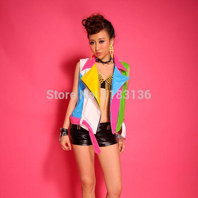 2015 women vest Fashion ds table female singer costume sexy neon color block decoration motorcycle vest for singer dancer bar