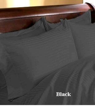 ($129.99) Egyptian Cotton 400 Thread Count Sateen Stripe 4 Pc Comforter Set - Black KingFrom Homespell