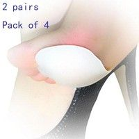 Wish | 2 Pairs Foot Care Silicone Insoles Forefoot Pain Relief Massaging Gel Metatarsal Toe Support Pads  Cosmetic Fashion Women (Size: Pack of 4, Color: White)