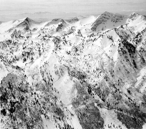 Aerial photograph of the Snowbasin Ski Resort, March 1, 1947