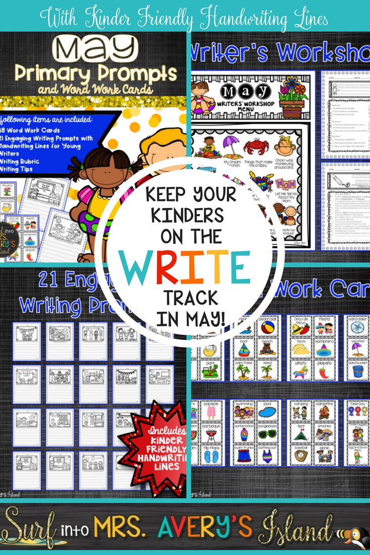 """These May writing prompts include story starters for kindergarten and preschool aged writers!  Perfect for May morning work, writing center activities, word work center activities, fast finisher activities, etc.  These seasonal journal topics were created for students who need """"kinder friendly"""" sized handwriting lines as they develop their fine motor skills.  Click on this link to check out these engaging writing prompts for kids and keep your students on the WRITE track during the month of…"""