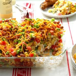 Chili Corn Bread Salad Recipe -A co-worker brought this wonderful dish to a potluck several years ago. She had copies of the recipe next to the pan. Now I make it for get-togethers and also supply copies of the recipe. I never have any leftover salad <I>or</I> recipes. -Kelly Newsom, Jenks, Oklahoma