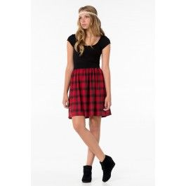 Red & black plaid dress with black top