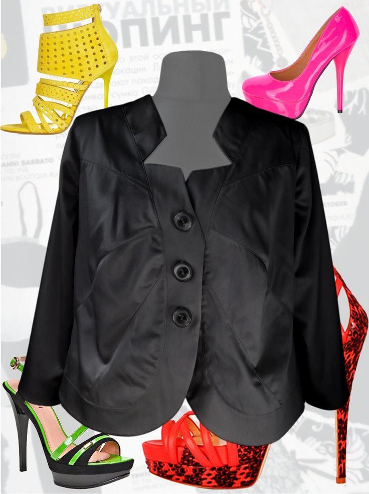 56$ Нарядный пиджак для полных женщин из атласа чёрный Артикул 382, р50-64