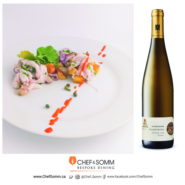 Sea Scallop Ceviche with Yellow Peach, Sriracha, Shallots, Capers and Watercress paired with Schloss Schönborn, Riesling Kabinett, Germany, 2008 $19.95 More about this pairing on our FB and IG pages