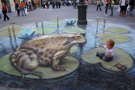 Sidewalk Chalk Art - Frog Pond