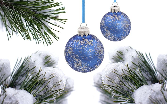 Download wallpapers blue christmas balls, snow, winter, new year, christmas