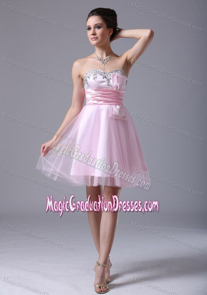 Tulle Sweetheart Pink Middle School Graduation Dresses with Beading