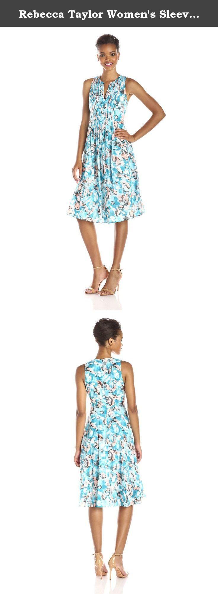 Rebecca Taylor Women's Sleeveless Aloha Pin Tuck Dress, Poolside, 0. Aloha pin tuck dress.