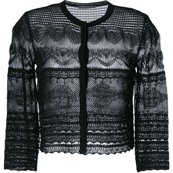 Alberta Ferretti crochet knit cardigan ($414) ❤ liked on Polyvore featuring tops, cardigans, black, crochet knit top, knit cardigan, crochet tops, macrame top and cardigan top