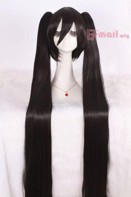 Chịu nhiệt 120 cm Long Black Clip On Ponytails VOCALOID MIKU/BLACK ROCK SHOOTER cosplay tóc giả CW90