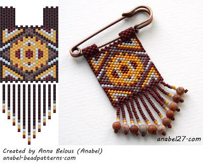 free peyote patterns. Note to self: rather than using a safety pin, mount on wire and attach to necklace, or, double the pattern and make a medicine pouch.