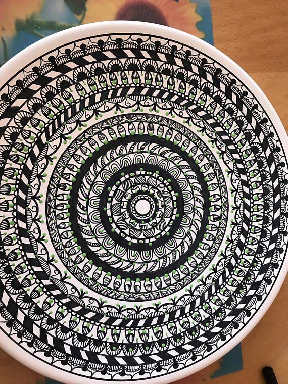 Placa decorativa platos decorados mandala plato ceramica