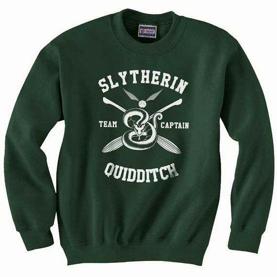 CAPTAIN - Slytherin Quidditch team Captain WHITE print on Forest green color Crew neck Sweatshirt