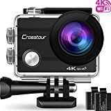 "#8: Crosstour Action Camera 4K Wifi Ultra HD Underwater Sport Cam 98ft 2"" LCD 170Wide-angle with 2 Rechargeable 1050mAh Batteries and 20 Accessory Kits for Cycling Swimming Snorkeling #amazon #movers #shakers #electronics #photo"