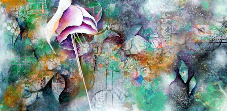 Mixed Media flower, semi abstract painting by Jackie Gray