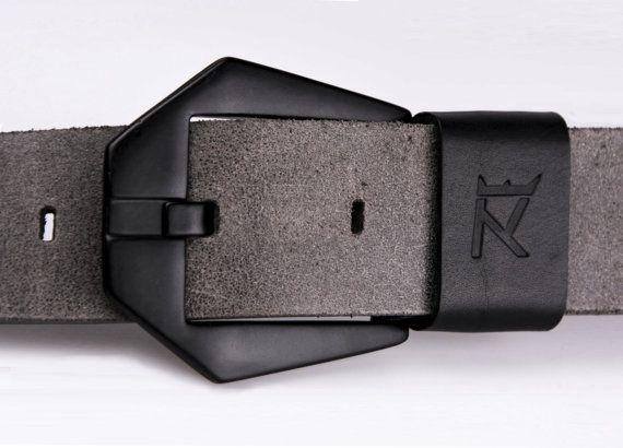 Men's genuine leather belt grey leather  black by RexcraftBELTS