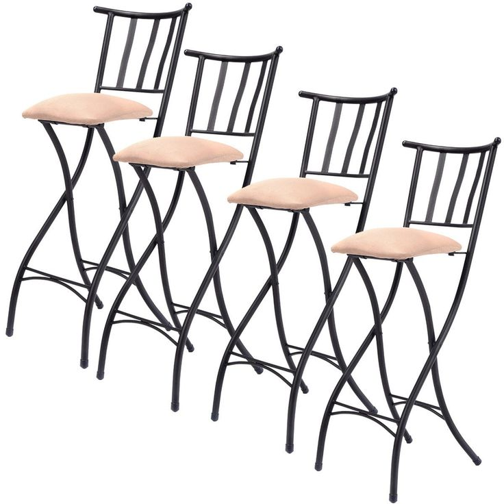 Costway Set of 4 Folding Bar Stools Bistro Pub Chair, Silver steel