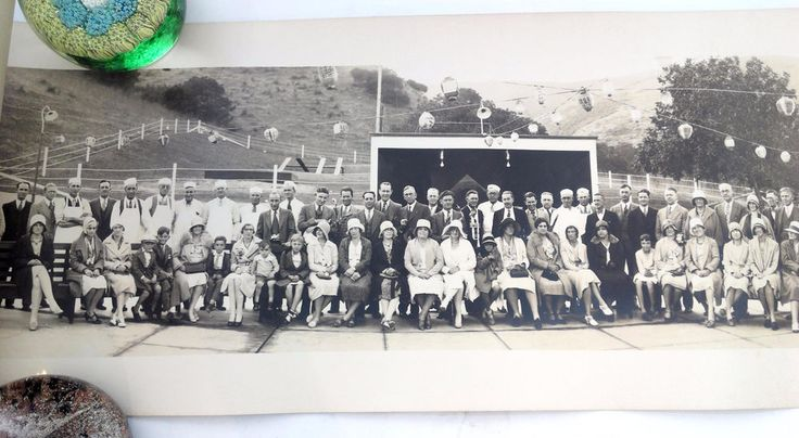 1930 SHELL OIL COMPANY Employees Lake Elsinore Ca BARBEQUE PANORAMA Photograph