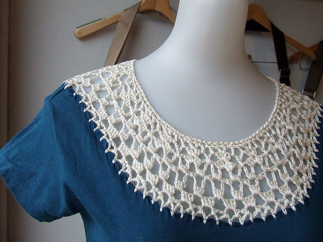 crocheted neckline inset on a T-shirt, inspiration