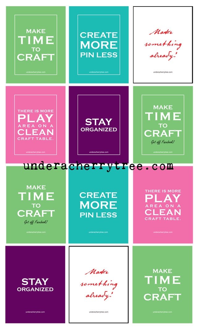 Under A Cherry Tree: Jin's FREE Craft Resolutions Printable Cards and Posters
