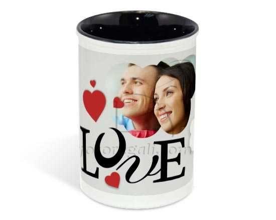 Portapenne in ceramica con grafica d'amore
